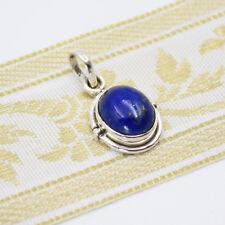 Anhänger Lapis Lazuli Silber 925 Kettenanhänger Oval Blau Sterlingsilber Indra