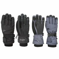 Trespass Ergon II Adults Waterproof Ski Gloves in Grey & Black with Nose Wipe