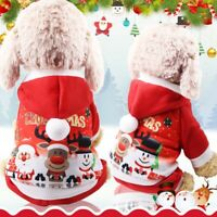 Small Pet Dog Cat Santa Christmas Coat Outfit Clothes Xmas Hoodie Jumper Costume