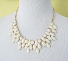 White Teardrop Bib Necklace Goldtone Chain Faceted Oval Resin Beads Statement