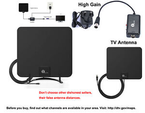 1byone HD Freeview TV Aerial Stand Antenna Amplified 20dB High Gain Amplifier UK