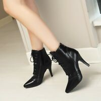 Women Stiletto Heel Ankle Boots Pointy Toe Wing Tip Brogue Lace-up British Shoes