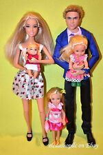 ADORABLE BARBIE DOLL FAMILY DOLLS LOT MOM KEN DAD BABY KELLY CHELSEA