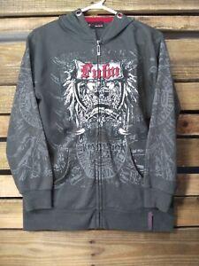 FUBU Kids Hooded Sweater Sz Large Gray Full Zip Embellished Hoodie Jacket SW57