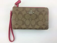 New Authentic Coach F87591 Double Corner Zip Wristlet Wallet Khaki Magenta Pink