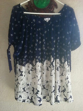 WOMEN'S SIREN LILY STYLISH PEASANT TUNIC TOP SHEER FLORAL BLUE 2X 52 BUST