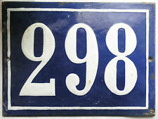 Large old French house number 298 door gate plate plaque enamel steel metal sign