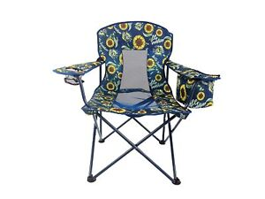 NEW - Oversized Sunflower Printed Folding Mesh Patio Chair with Built-in Cooler