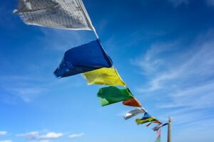 A String of Tibetan Buddhist 10-20 Mantra Prayer Flags Wind Horse,Various sizes