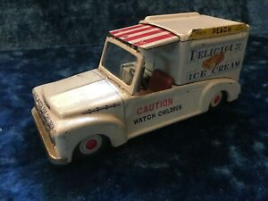 1950s Vintage Tin Litho Friction Delicious Ice Cream Truck - Free Ship!
