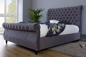 Velvet Chesterfield Upholstered Sleigh Bed Frame - Single, Double, Kingsize UK