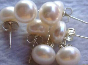 4 Pairs 7-8mm Natural White Akoya Cultured Pearl Beads Silver Stud Earrings AAA