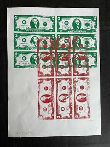 ANDY WARHOL silkscreen - Hand signed in pencil - 2$ bill
