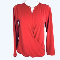TAHARI Stretch Garnet Dusk Red Women Blouse. Size M. New With Tags