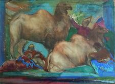Josef Presser (American, 1907–1967) Gouache Painting Circus Performers Camels