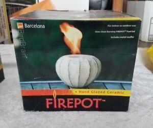 Firepot Hand Glazed Ceramic Barcelona White by Bird Brain (NEW)