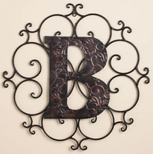Monogram Metal Wall Sculpture Hanging Rustic Scrolled Medallion Large Letter B