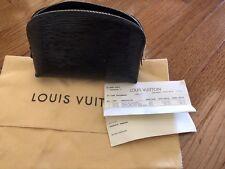 Authentic Louis Vuitton Noir Epi Leather Cosmetic Makeup Bag Zipper Top Black