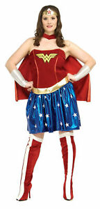 Womens Wonder Woman Sexy Corset Fancy Dress Halloween Party Theme Costume