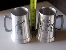 2 NEW Old Tankard Ale Mugs By Pabst Blue Ribbon Brew Man Cave Metal Stein Lot