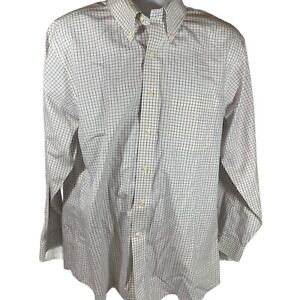 Brooks Brothers Dress Shirt 17 x 34 Slim Fit Non-Iron Easy Care Check