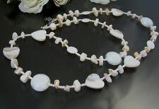 Kette lange Halskette BOHO Vintage echt Perlmutt Herz weiß 78-84cm Schmuck Z81