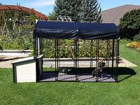 Ultimate K9 Condo Package Dog House + Kennel-Run + Raised Floor + Swivel Bowls