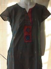 Vintage Handwoven Silk Indian Salwar Kameez Tunic Harem Pants Womens Medium Boho
