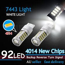 Pair T20 7443 92 SMD LED Car Brake Stop Tail Light Bulb 12V WHITE Projector Lens