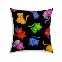 Cushion Cover Cat Digitally Printed Black Satin Drawing Room Pillow Case