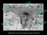 OLD POSTCARD SIZE PHOTO VALLETTA MALTA WWII BOMBING OF POLICE STATION 1942