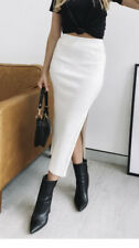 NEW TIGERMIST PURE WHITE THICK RIBBED KNIT MIDI PENCIL SKIRT S M L