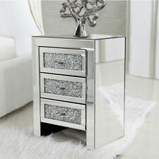 Crystal Nightstand Mirrored Bedside Diamante Table Cabinet 3 Drawer Table UK