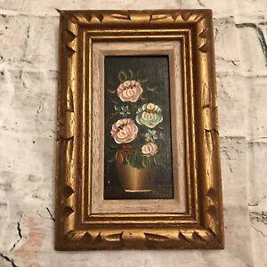VTG Miniature Floral Still Life Oil Painting on Wood Board Signed & Framed