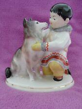 Porzellanfigur UdSSR Jakute mit Hund Leningrad Russland sowjetische Lomonosow