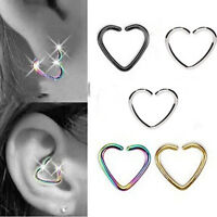 Jewelry 1Pcs Stainless Steel Heart-shaped Nose Lips Ring Ear Clip Body Piercing