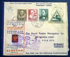 Netherlands 1938 1st Flight cover Sydney vice versa cancelled Hilversum BC66