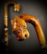 Tiger Cane Hand Carvin Walking Sticks Wooden Handmade Trekking Hiking Canes
