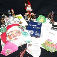 Vintage Christmas Lot Ephemera tags figurines napkins Santa holiday estate