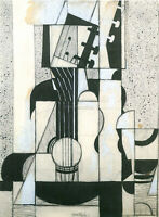 STILL LIFE WITH GUITAR BY JUAN GRIS ARTIST PAINTING OIL CANVAS REPRO ART DECO