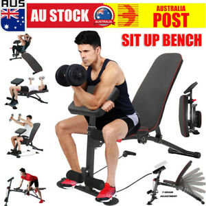 Adjustable Foldable Weight Abdominal Bench Sit-up Fitness Home Gym Exercise AU
