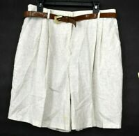 Sag Harbor Womens Beige Bermuda Style Shorts Linen Blend Belted High Waist 18