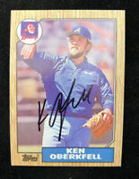 KEN OBERKFELL 1987 TOPPS AUTOGRAPHED SIGNED AUTO BASEBALL CARD 627 BRAVES