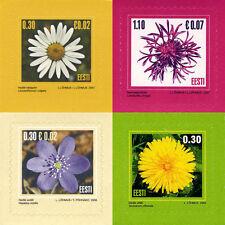 Stamp SET of ESTONIA 2004 2006 2007 - Flowers 4 Self-adhesive stamps
