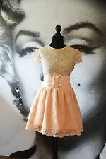VINTAGE PEACH PINK LACE TEA DRESS JONES AND JONES SUN DRESS NET SKIRT 50'S