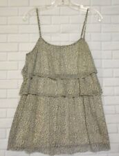 Vila Large Gray White Animal Print Scoop Neck Frilled Adjustable Strap Tank  Top