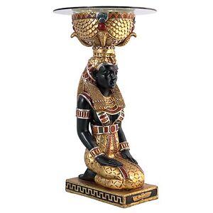 NE75534 -The Egyptian Goddess Eset Glass-Topped Table - Ancient Egyptian Decor!