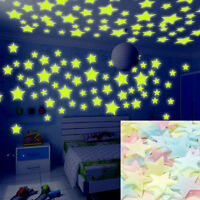 200 pcs 3D Wall Glow In The Dark Stars Stickers Kids Bedroom Nursery Room Decor