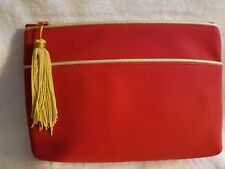 Estee Lauder Red with Gold Piping Vinyl Cosmetic Makeup Bag, With Gold Tassel
