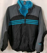 Vintage Adidas mens reversible fleece jacket size small blue gray black trefoil
